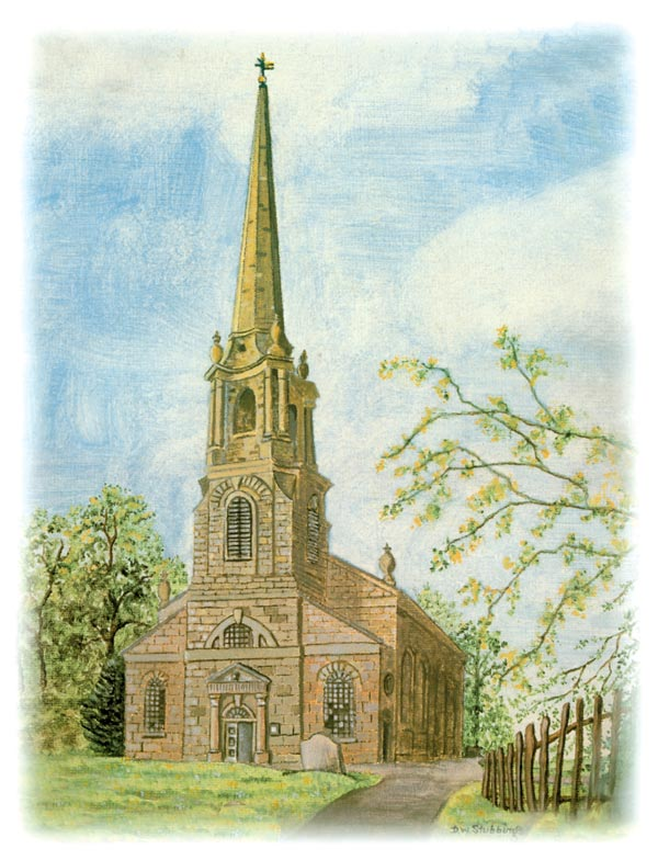 Painting of St Bartholomew's church by D W Stubbings