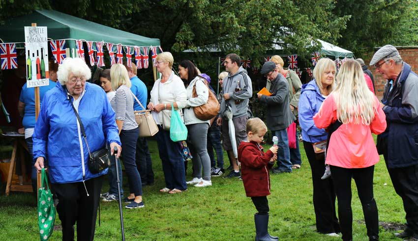 Queue for the tombola stall at the Tardebigge Fair and Show 2016